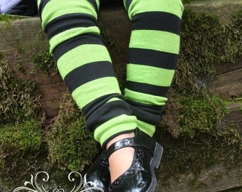 Baby Toddler Leg Warmers Green and Black Striped