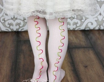 Pink and Lime on Melon Girls Stockings / Tights