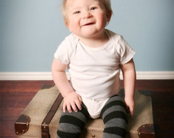 Black and Gray Striped Baby Toddler Leg Warmers