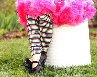 Black Rainbow Stripes Baby Toddler Leg Warmers