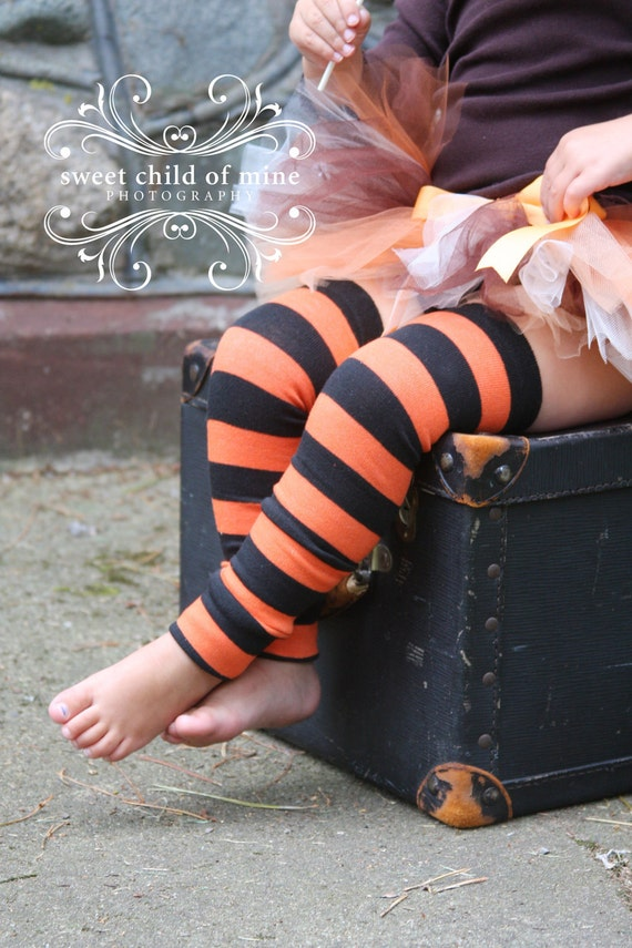 Black and Orange Striped Baby Toddler Leg Warmers
