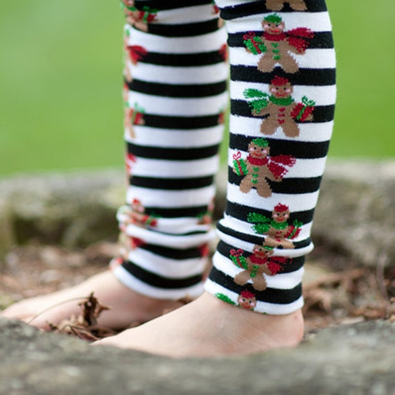 Gingerbread Black and White Stripe Baby Toddler Leg Warmers