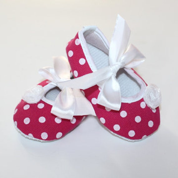 Fuchsia and White Polka Dot Baby Shoes Clearance