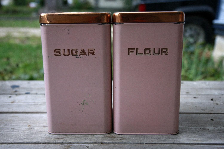 vintage flour and sugar canisters. Black Bedroom Furniture Sets. Home Design Ideas