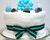 Brown and Teal Spa Cake