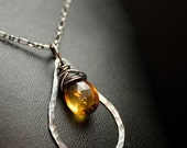 Hammered Teardrop Necklace in Silver and Citrine (Work and Play Collection)