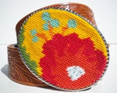 SALE  Bright Floral Needlepoint Belt Buckle