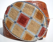 NEW   Needlepoint  Subdued Fall Plaid Belt Buckle