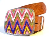 15% Off and Free Shipping Needlepoint Sharp Colorful Zig Zags Belt Buckle