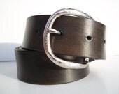 Coal Black Smooth Leather Snap Belt