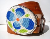 CLEARANCE Needlepoint Blue Kitsch inspired Belt Buckle