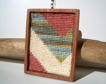 Needlepoint La Paz Bold Striped Chevron Mahogany Based Necklace Pendant