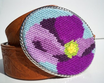 CLEARANCE Needlepoint Purple Passion Flower Belt Buckle