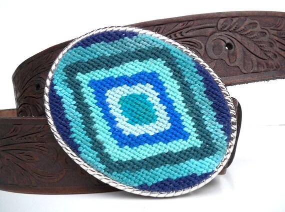 Needlepoint Turquoise  Eye Belt Buckle