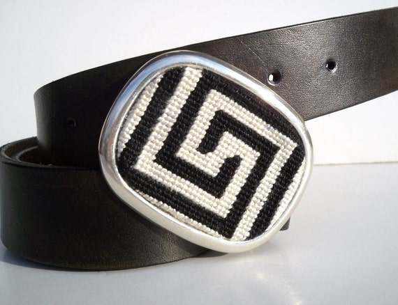 Needlepoint Black n White Greek Key Belt Buckle