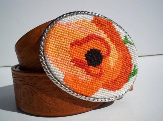 CLEARANCE Needlpoint Orange Poppy Belt Buckle