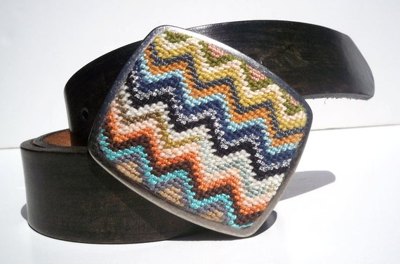 NEW  Needlepoint Boho Zig Zag Belt Buckle