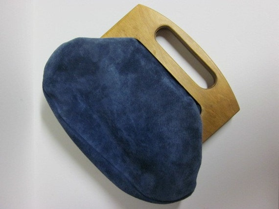 RESERVED Vintage Blue & Suede Purse with Wood Handle