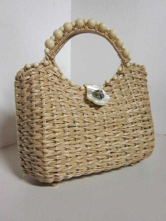 SALE Vintage basket Purse, 60s Woven by Walborg