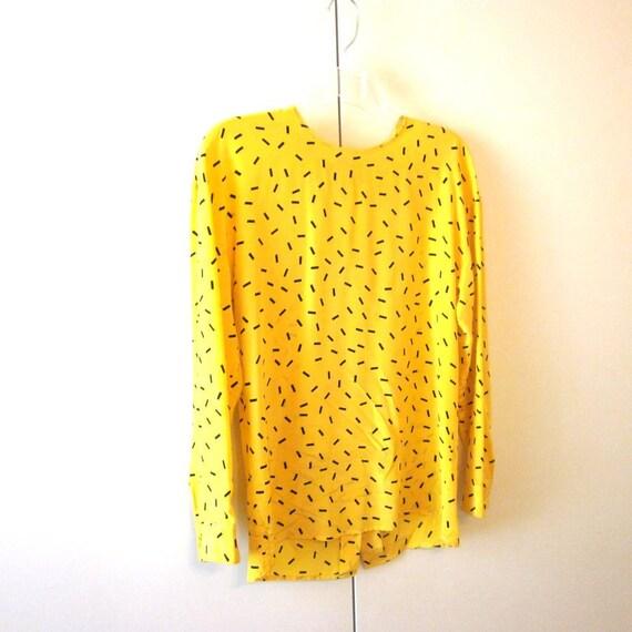 Eleanor P Brenner 80s Yellow Silk Long Sleeve Blouse