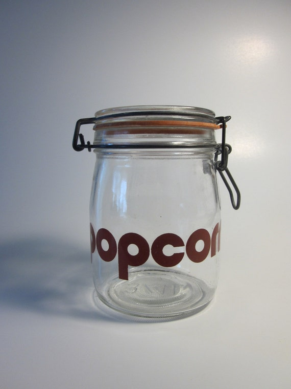 Popcorn Canister Jar- Brown Typography