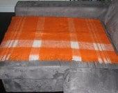 Vintage Eatons Vibrant Orange and White Wool Blend Throw