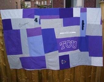Recycled sweatshirts patchwork blanket, Dorm Room