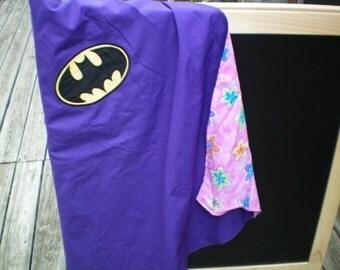 Purple Bat Super Hero Cape - Reversible - Ready to Fly