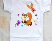 Fox and Butterflies Baby One Piece