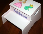 Hand Painted Step Stool with Storage, Bathroom Time, Holiday Gift, Personalized, Custom, Christmas, Hanukkah, Gifts, Kitchen