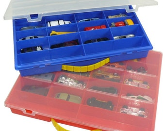 SALE - Set of 15 Toy Car Cases in Blue and Red - Perfect for personalization, gifts, party favors and holidays