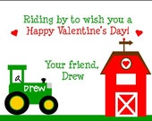 Personalized Boys' Valentine's Day Tractor and Barn Cards