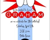 NEW....Personalized Bowling Birthday Party Invitations