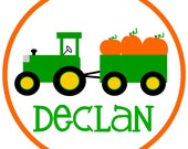 NEw...Personalized Boys' Tractor Hauling Pumpkins Fall Short Sleeved Tshirt...Long Sleeved also available