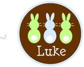 NEW...Personalized Three Little Boy Bunnies Custom Short Sleeved Tshirt