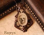 Gunmetal Filigree Skull Necklace