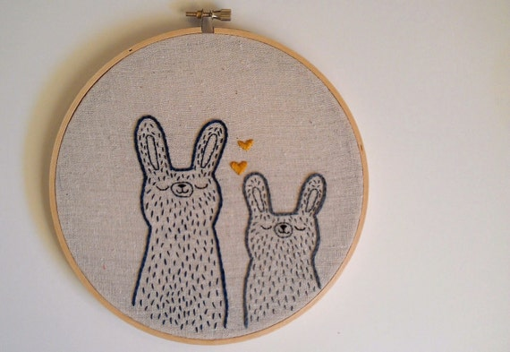 We love each other more than the sun - LARGE -Original embroidered wall art by Sleepy Kin