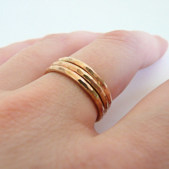 Three Hammered Gold Stacking Rings made to order in your size