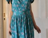 Vintage 1980's silk tuqoise blue floral dress small-medium RESERVED FOR browneyesbigsmile