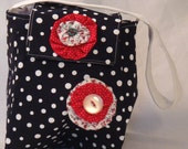 SALE 50% Off Upcycled Purse in Navy with White polkadots with red and white flowers.