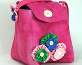 SALE 50% Off Upcycled Purse in Pink Damask with multi coloured flowers