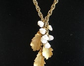 Vintage Gold Leaves with Freshwater Pearls on Vintage Chain