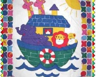 Noah's Arc Ark Bright Easy Baby Quilt Kit w\/ Pattern