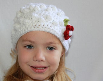 Awesome White hat with Bobbles and a Wine Flower