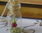 Red Flower in a Bottle Pendant Necklace