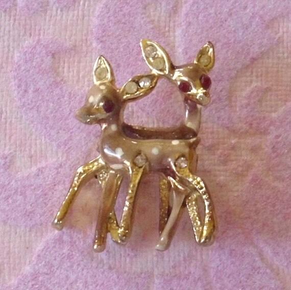 Vintage Tawny Enamel Rhinestone Deer Pin Brooch
