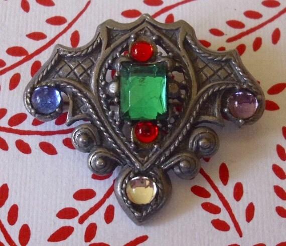 Colorful Rhinestone Shield Brooch