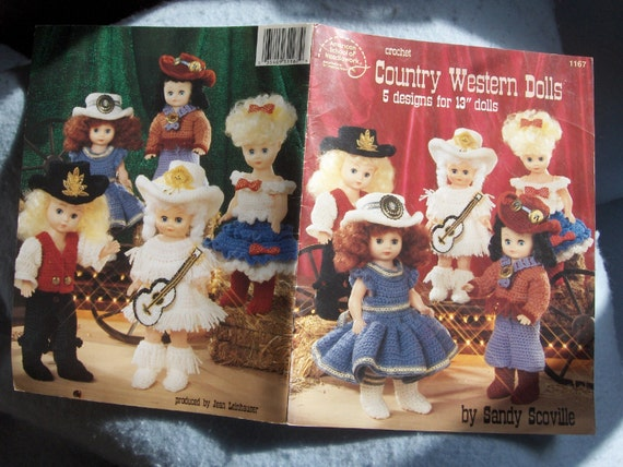 CROCHET patterns for 13 inch dolls COUNTRY WESTERN DOLL CLOTHES