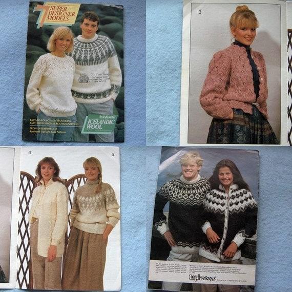 Vintage 1983 knitting patterns 7 Super Designer Models in ICELANDIC WOOL