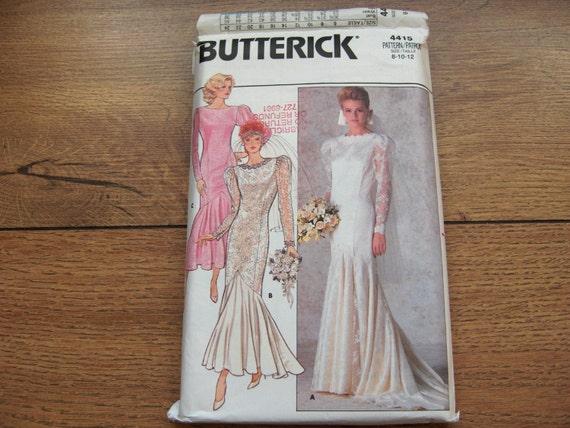 Vintage 1986 Butterick sewing pattern 4415 Wedding Bridal Bridesmaid Evening Dress sz 8-10-12 uncut